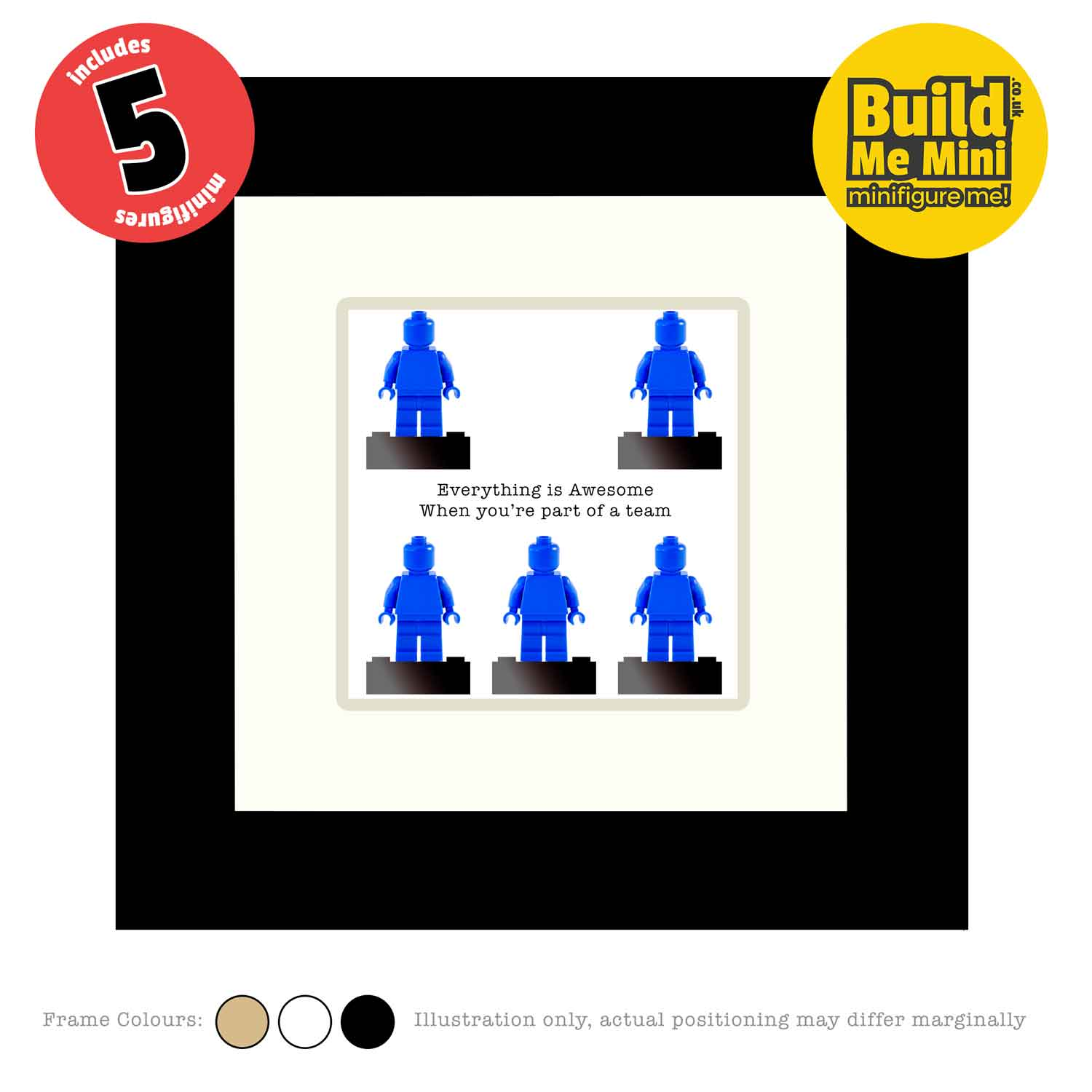 Framed Personalised Minifigures made from LEGO® parts (Five Figures)