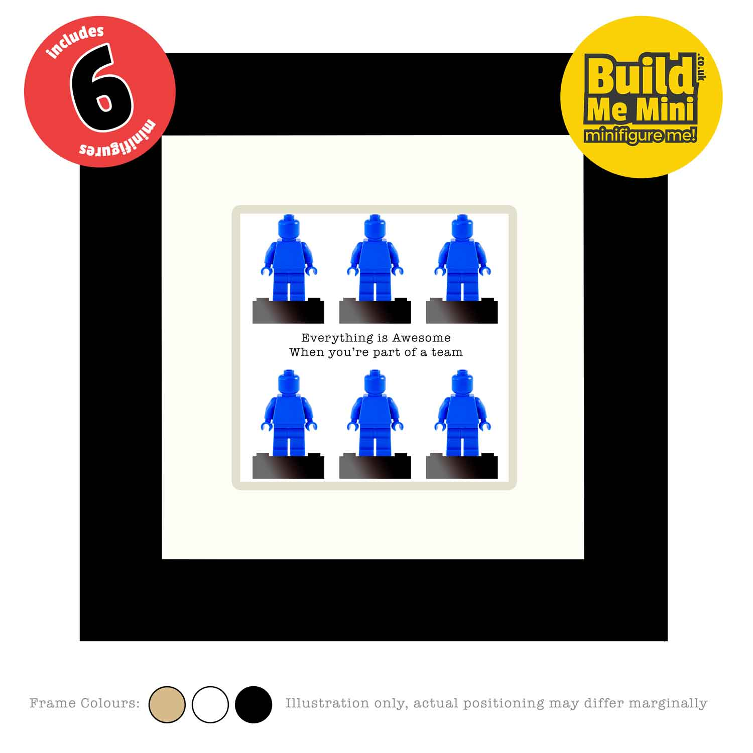 Framed Personalised Minifigures made from LEGO® parts (Six Figures)