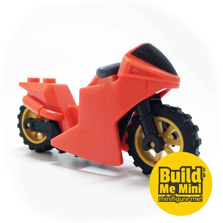 Lego Minifigure Scale Racing Motorbike (Multiple Colours)