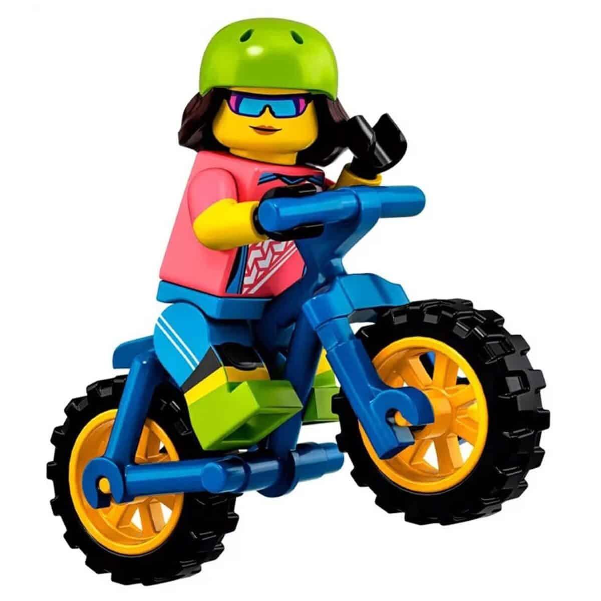 LEGO Biker Girl Minifigure with BMX Bike – Series 19 CMF